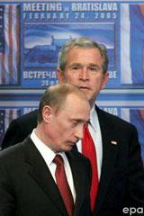 George Bush amerikai elnök és Vlagyimir Putyin