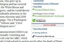 Technorati- és del.icio.us-linkek a Washington Post cikke mellett