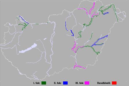Érvényes árvízvédekezési fokozatok