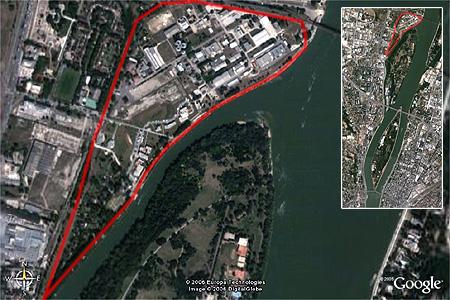 A gázgyár műholdképe