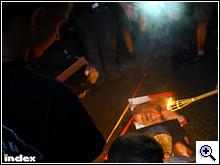 Jan Slota képét inzultálják a HVIM tüntetésén