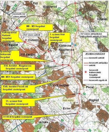 Az M0 keleti szektorának tervezett nyomvonala