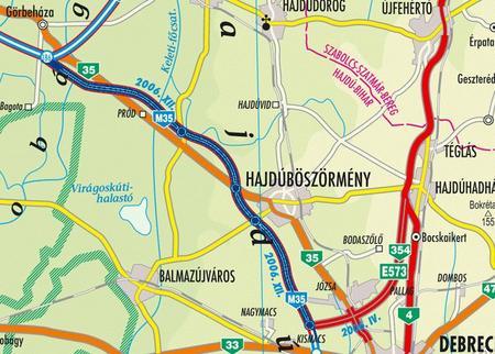 A december 15-re elkészülő autópálya-szakasz a képen sötétkékkel <br /> (forrás: ELTE IK Térképtudományi és Geoinformatikai Tanszéke)