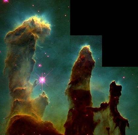 A Hubble egyik leghíresebb felvétele a Teremtés oszlopai nevű űrobjektumról.
