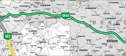 Az M44-es tervezett nyomvonala (forrás: NIF Zrt.)