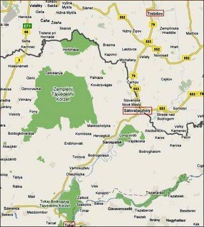 Tőketerebes és a Hegyalja (forrás: maps.google.com)