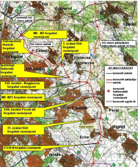 Jövőre tényleg kész lesz (az Unitef '83 térképei alapján forrás: www.m0.hu)