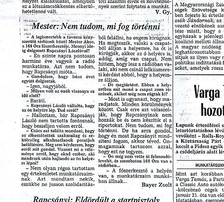 Mi az, amit Bayer Zsolt meg sem kérdezett Mester Ákostól? (Népszabadság, 1994. március 5.)