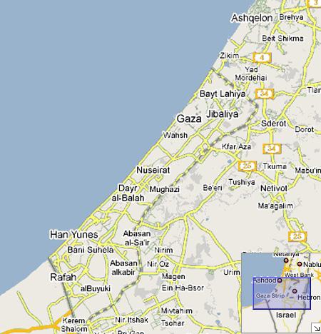 A Gázai övezet térképe