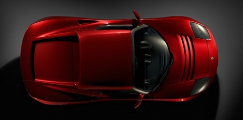 Piros Roadster felülről. Forrás: Tesla Motors