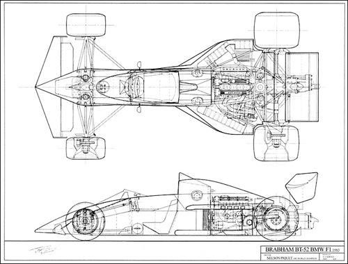Brabham BT52 vonalrajza. Készítette: Toni Cairoli
