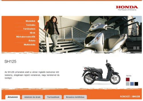 A Honda SH125i robogó magyar honlapja