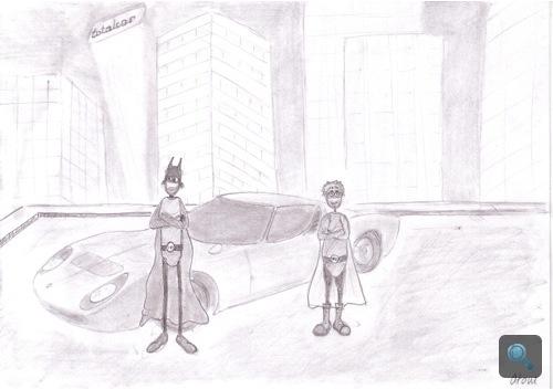 Batmobilos-Miurás képregény. Készítette: Atom