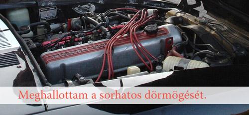 Fekete Datsun 280Z motorja