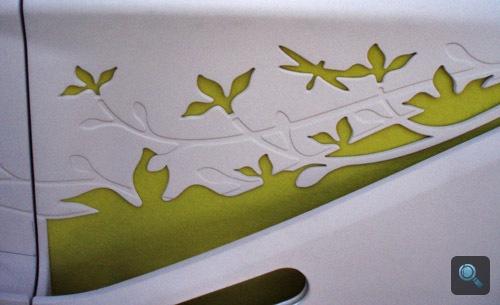 A Citroën C-Cactus ajtajában a hangszigetelésből képzett minta