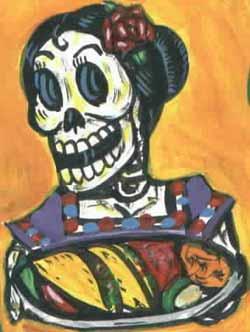Tortillákat tartó női csontváz, mexikói stílusú halottak napjai ábrázolásban. Forrás: Little Meals Great Implications