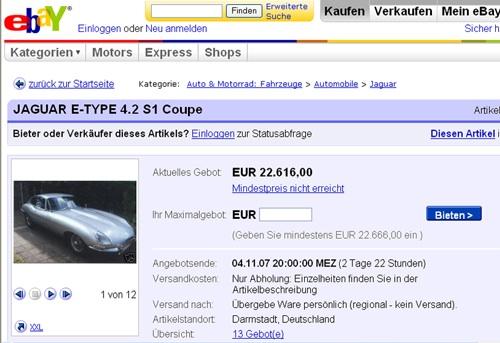 Eladó Jaguar E-Type az Ebayen