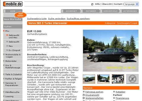 Eladó Volvo 262 C a Mobile.de-n