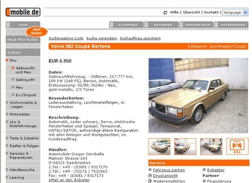 Eladó Volvo 262 Bertone a Mobile.de-n