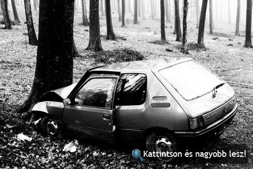 Fának ment Peugeot 205 Sopron közelében. Fotó: eszpee