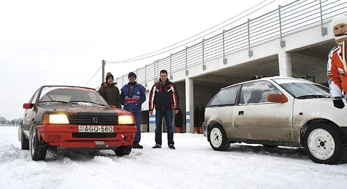 Peugeot 205 és Suzuki Swift a behavazott Euroringen. Forrás: Vikiszava.net