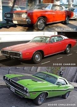 Ford Galaxie, Dodge Charger és Dodge Challenger
