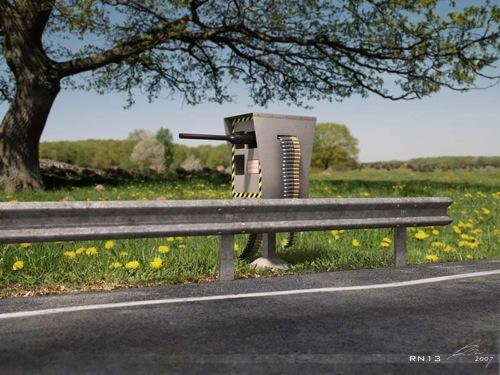 Automata gépfegyverrel felszerelt traffipax