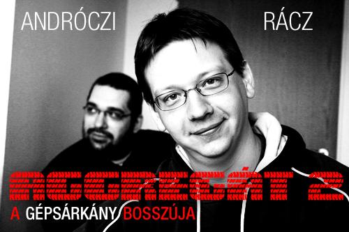 Andróczi Balázs és Rácz Tamás filmplakátként a Totalcar szerkesztőségi értekezletén. Fotó: Gyulavitéz