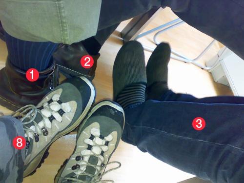 Dolgozók lábai a Totalcar szerkesztőségi értekezletén. Fotó: Kari
