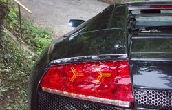 Fekete Lamborghini Murciélago LP640 hátsó lámpája