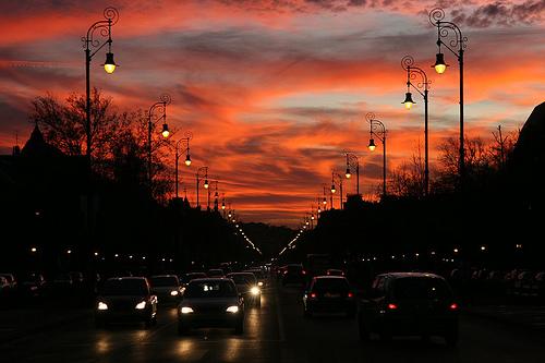 Naplemente 2008. január 20-án az Andrássy út felett. Fotó: AlieN