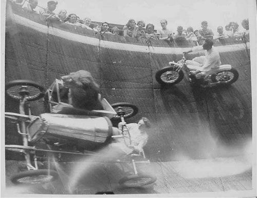 Oldalkocsis autóban, függőleges falon szállított oroszlán