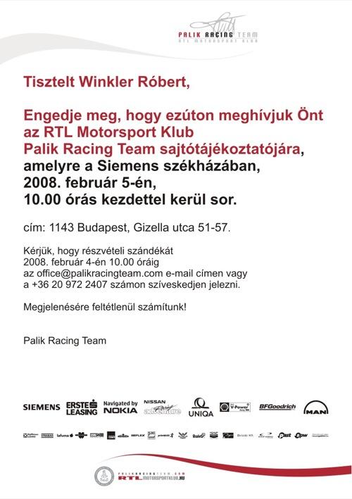 A Palik Racing Team meghívója a szerzőnek