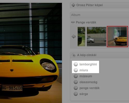 A szemantikailag precíz címkézés illusztrálása a szerző egy Lamborghini Miuráról készített fotóján