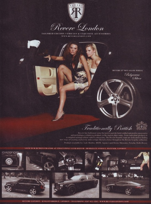 A Revere felnikereskedés hirdetése a Top Gear 2008. januári számában. Forrás: Top Gear