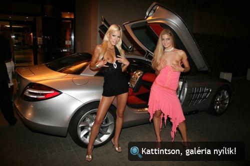 Boroka Balls és Cayenne pornószínésznők, valamint egy Mercedes-Benz SLR McLaren Cannes-ban. Fotó: AlieN
