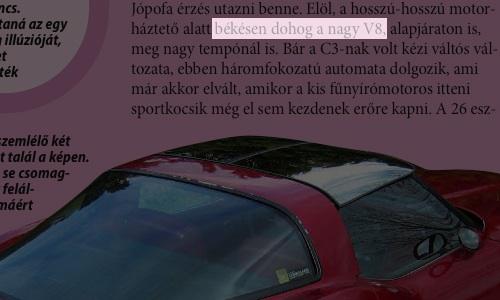 """Részlet a Totalcar-Expressz 2007. áprilisi számának Corvette C3 cikkéből, miszerint """"békésen dohog a nagy V8"""""""