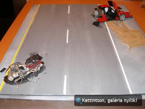 Stefan Eriksson összetört Ferrari Enzójának modellje. Készítette: HansStuckJr
