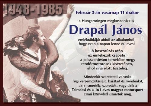 Meghívó Drapál János sírjának koszorúzására
