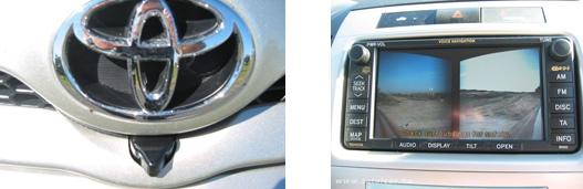 A Corolla kamerája és kijelzője