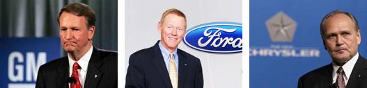 Rick Wagoner, a GM elnöke, Alan Mulally, a Ford vezére és Bob Nardelli, a Chrysler főnöke