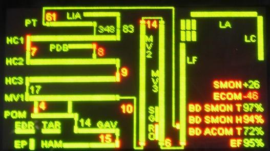Dreyfus-hiperhajtómű státuszpanelje: az EF (e-fraction) érték a fénysebességhez viszonyított sebességet mutatja