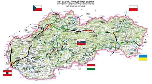 A szlovákon a 2010-ig tervezett szakaszok is bejelölve.