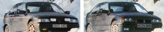 Elölről akár Nissan Sunny is a korai képen, mellette az átrajzolt kép szinte tökéletesen stimmel