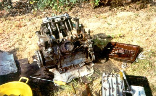 Motorgenerál a fűzfa tövében. A képen szinte az összes szükséges szerszám látszik