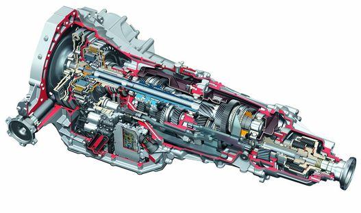 Az Audi-váltó röntgenrajzon. Hosszváltó, összkerékhajtás központi diffivel, előrehajtással kb. 140 kiló