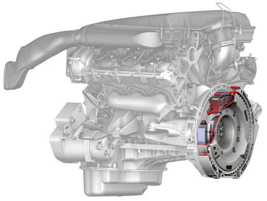 Ilyen pici az állandó mágneses, 15 kilowattos villanymotor a motorra csavarozva