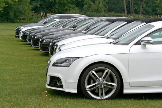 Audi-armada a golfpálya bejáratánál. Single frame minden mennyiségben