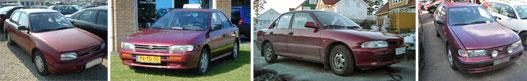 Daihatsu Applause, Subaru Impreza, a Mitsubishi Lancer, Nissan Almera
