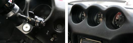 A jobb bajuszkapcsolóra tették a lámpakapcsolót és az ablaktörlő kezelőszerveit is. Középen az óra-orgia
